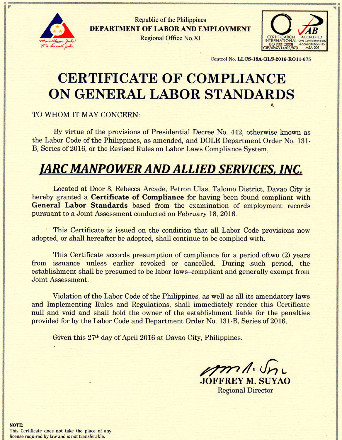 Why Us Jarc Manpower Allied Services Inc In Davao City