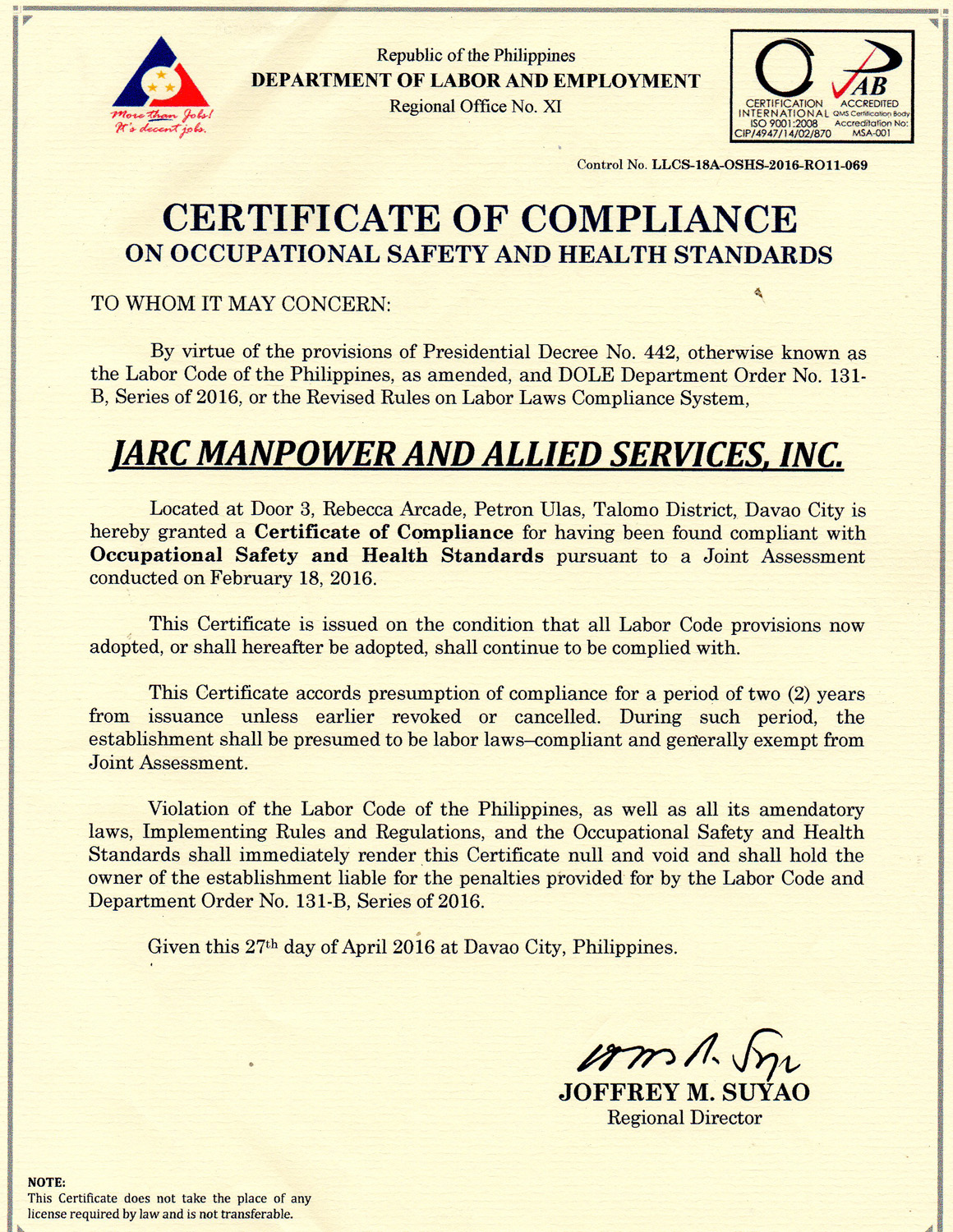 Why us jarc manpower allied services inc in davao city coc safety and health 1betcityfo Image collections